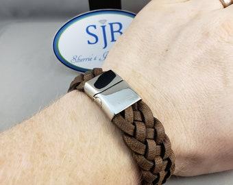 Leather Bracelets, Engravable Brown Leather Bracelet, Braided Leather Bracelet, Leather ID Bracelets, Stackable Leather Bracelets, #B116