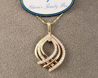 Diamond Pendants, 14k Diamond Pendants, 14k Rose Gold & 14k Yellow Gold Diamond Statement Pendant, 14k Two Tone Gold Diamond Pendant, #P1150