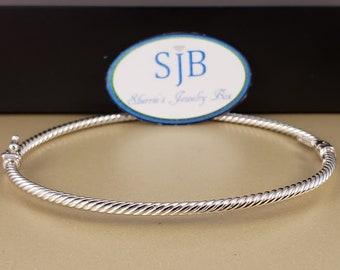 Bracelets, 14k Bangle Bracelet, Twisted Bangles, 14k White Gold Hinged Style Bangle Bracelet, Stackable Bracelets, White Gold Jewelry, #B237