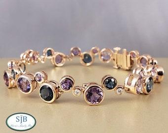 Rose Gold Bracelet, Amethyst & Diamond Bracelet, 14k Amethyst Blue Topaz and Diamond Bracelet, Diamond Bracelet, February Birthstones, #B253