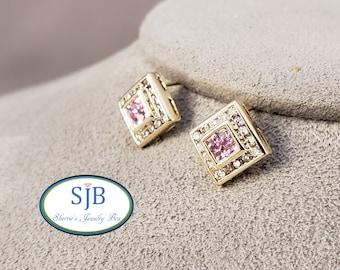 Pink Sapphire Earrings, 14k Yellow Gold Pink Sapphire & Diamond Stud Earrings, Pink Sapphire Halo Earrings, September Birthstones, #C1509