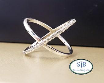 Diamond Rings, Wide 14k Diamond Bands, 14k White Gold Diamond Criss Cross Ring, Stackable Rings, Diamond Statement Rings, Size 7.25, #R928