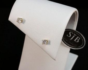 Diamond Earrings, 1/4 Carat Diamond Stud Earrings, .25ct Total Weight Diamond Studs, 14k Yellow Gold Diamond Studs, April Birthstone, #SD195