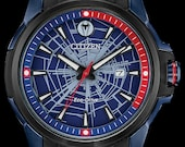 Marvel Watch, Citizen Disney Watches, Spider Man Watch, Black and Blue Spider Man Watch with Rubber Strap Web Dial, Mens Collectable Watch