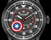 Marvel Watches, Citizen Disney Watch, Captain America Watch, Stainless Captain America Watch Camo Band Black Dial, Mens Collectable Watch