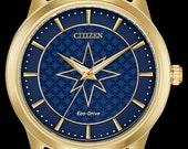Marvel Universe Watches, Captain Marvel Disney Watch, Gold Disney Citizen Eco Drive Watch with Mesh Band Blue Dial, Mens Collectible Watch
