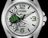 Marvel Watches, Citizen Disney Watches, Incredible Hulk Stainless Watch with Black Leather Strap Green SMASH Dial, Mens Collectable Watch