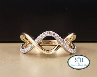 Diamond Bands, 14k Two Tone Diamond Criss Cross Band, 14k White & Yellow Gold Diamond Ring, Wide Diamond Ring, Stacking Rings, Size 7, #R950