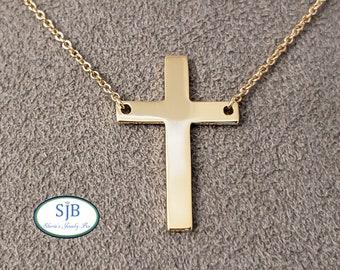 "Cross Pendants, 14k Gold Cross Necklace, 14k Yellow Gold Cross Pendant, 16"" Engravable Yellow Gold Cross Necklace, Religious Jewelry, #P1200"
