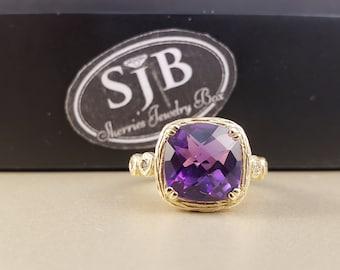 Amethyst Rings, 14k Amethyst Rings, Amethyst and Diamond Ring, 14k Yellow Gold Amethyst & Diamond Ring, February Birthstone, Size 4.25 #R696