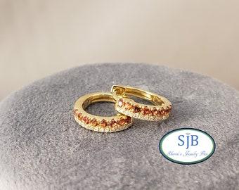 Sapphire Earrings ,14k Yellow Gold Hinged Hoop Orange Sapphire & Diamond Earrings, 14k Sapphire and Diamond Huggie Earrings, #E1507