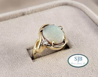 Opal Rings, 14k Opal Rings, 14k Yellow Gold Opal & Diamond Rings, Vintage Opal Rings, Vintage Rings, October Birthstones, Size 5.5, #C1534