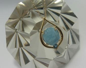Aquamarine Pendant, 14k Yellow Gold Aquamarine Pendant, Natural Faceted Aquamarine Statement Pendant, March Birthstone Jewelry, #P737