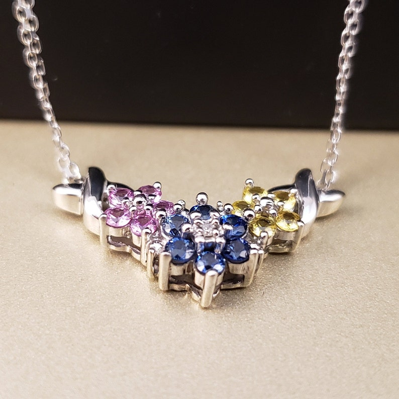 10k White Gold Sapphire Flower Necklace Sapphire Necklace #C764 10k Laboratory Sapphire Flower Pendant Rainbow Jewelry Flower Jewelry