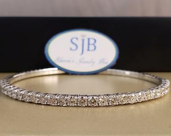 Diamond Bracelets, 14k White Gold Diamond Bracelets, 14k Bangle Bracelet, Flexible Diamond Tennis Style Bracelet, Stackable Bracelets, #B235