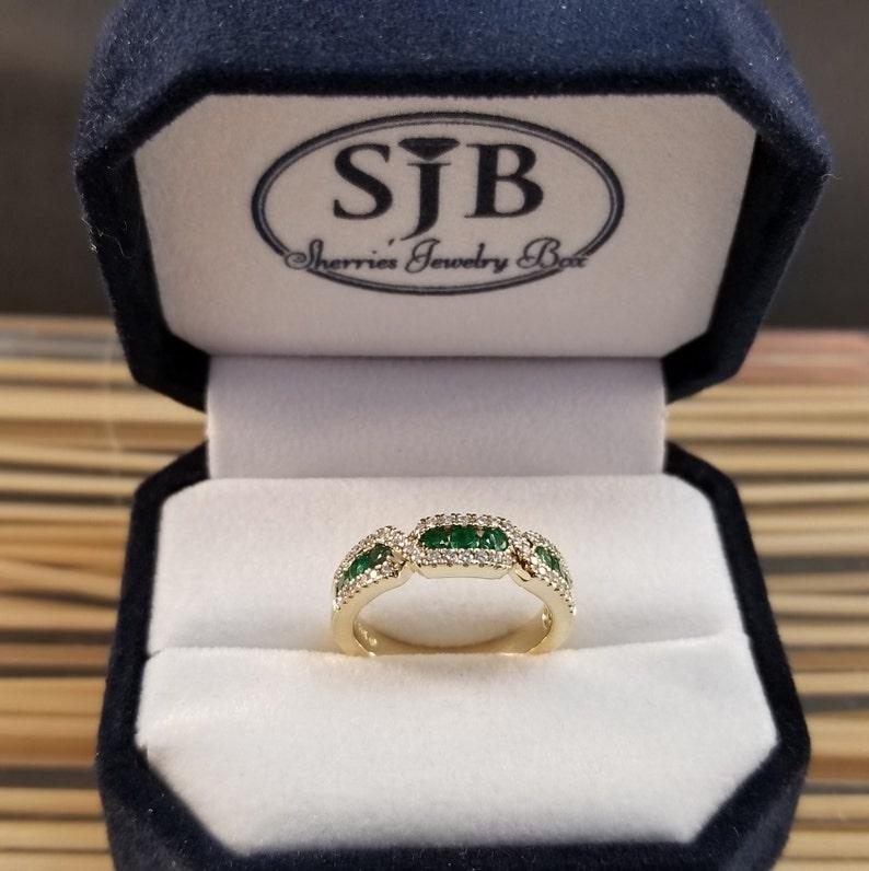 8e341fad0 Emerald Rings 14k Emerald & Diamond Ring 14k Yellow Gold | Etsy