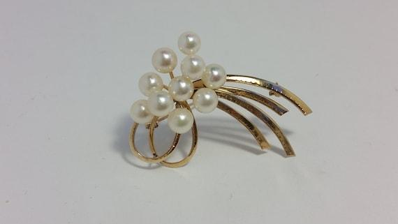 Vintage Pearl Brooch, Vintage Akoya Pearl Brooch,… - image 3