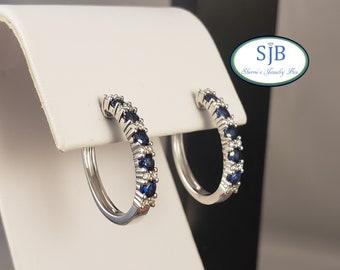 Sapphire Earrings,  14k Sapphire & Diamond Hoops, 14k White Gold Sapphire and Diamond Hoop Earrings, Hoops, September Birthstones, #E1481
