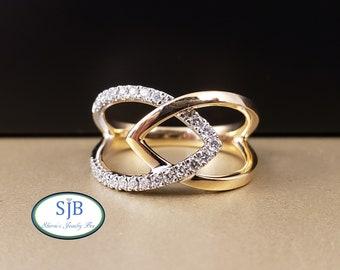 Diamond Rings, 14k White & Yellow Gold Diamond Ring, 14k Two Tone Diamond Ring, Diamond Statement Ring, April Birthstones, Size 7, #R956