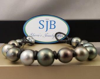 Tahitian Pearl Bracelet, Tahitian Pearl Braided Leather Bracelet, Tahitian Pearl & Black Leather Bracelet, June Birthstone Jewelry, #B226
