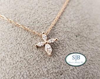 "Diamond Cross, Rose Gold Marquise Diamond Cross Pendant, 14k Rose Gold Diamond Cross Pendant, 16"" Rose Gold Cross, Religious Jewelry, #P1198"