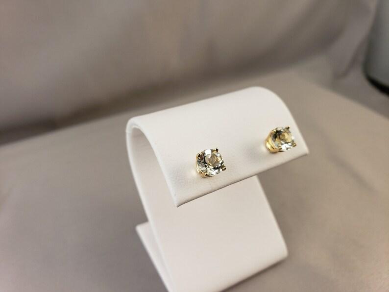 14k Yellow Gold Green Amethyst Earrings Green Amethyst Stud Earrings Prasiolite Studs Green Amethyst Earrings Green Stone Earring #E826