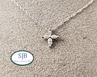 """Diamond Cross Pendant, Marquise Diamond Cross Pendants, 14k White Gold Diamond Cross Pendants, 16"""" Cross Pendants, Religious Jewelry, #P1196"""