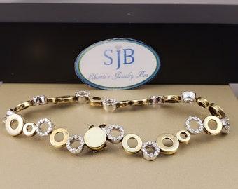 "Diamond Bracelets, 18k White & Yellow Gold Diamond Tennis Bracelet, 18k Two Tone Hold Halo Link Bracelet, 1.20ct Diamond Bracelet, 7"", #B027"