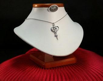 Diamond Pendant, Diamond Heart Pendant, 14k Diamond Tassel Pendant,  .10ct Diamond Drop Pendant, 14k White Gold Diamond Heart Pendant, #P609