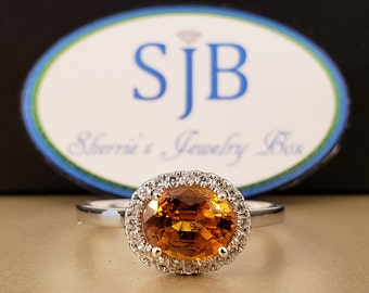 Sapphire Rings, Engagement Rings, Orange Sapphire Ring, 14k White Gold Orange Sapphire & Diamond Halo Ring, Stackable Rings, Size 6.5, #R338
