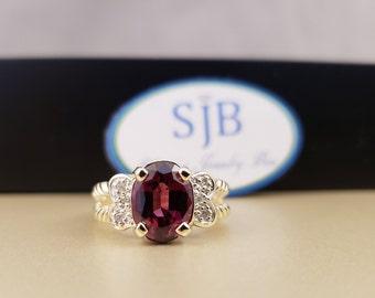 Garnet Ring, 14k Garnet Ring, 14k Yellow Gold Rhodolite Garnet & Diamond Ring, Red Stone Rings, January Birthstone Jewelry, #R439, Size 6.25