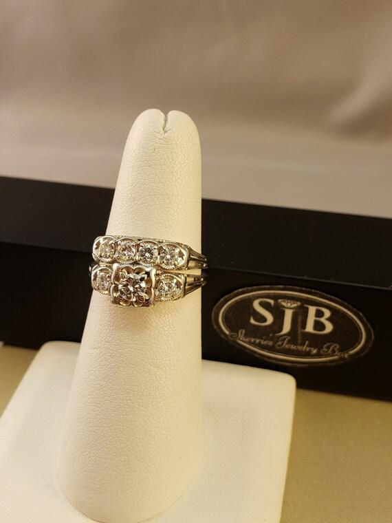 Diamond Wedding Set Vintage Wedding Ring Set 14k White Gold Etsy
