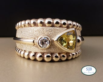 Sapphire Ring, Sapphire & Diamond Rings, 14k Yellow Gold Created Yellow Sapphire and Diamond Ring, Mens Statement Ring, Size 11.25, #R812