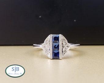 Sapphire Ring, Sapphire & Diamond Ring, 14k White Gold Sapphire and Diamond Ring, Vintage Design Ring, September Birthstone, Size 6.5, #R853