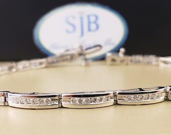 """14k Diamond Bracelets, 14k White Gold Diamond Tennis Bracelet, 7"""" Diamond Channel Bracelet, 1ct Diamond Bracelet, Heavy Gold Bracelet, #B037"""