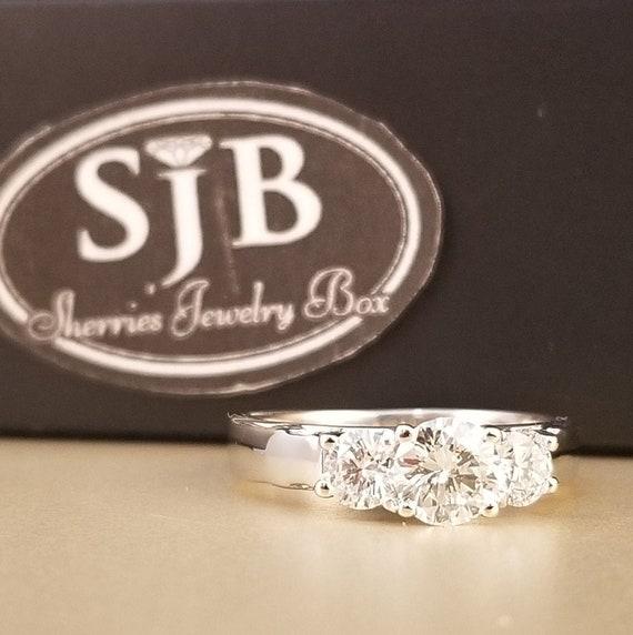 Na Hoku Diamond Ring, 14k Diamond Ring, 14k White Gold, 1 carat Diamond  Engagement Ring, three stone Diamond Anniversary ring, #C729, Size 6