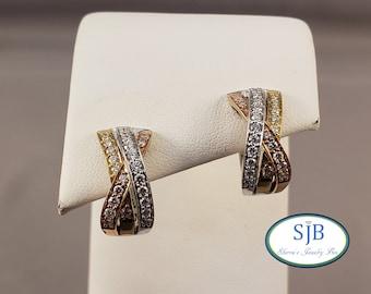 Diamond Earrings, 14k Diamond Hoops, 14k White Yellow and Rose Gold Diamond Huggies, 14k Tri Color Hinged Hoops, Wedding Earrings, #E1505