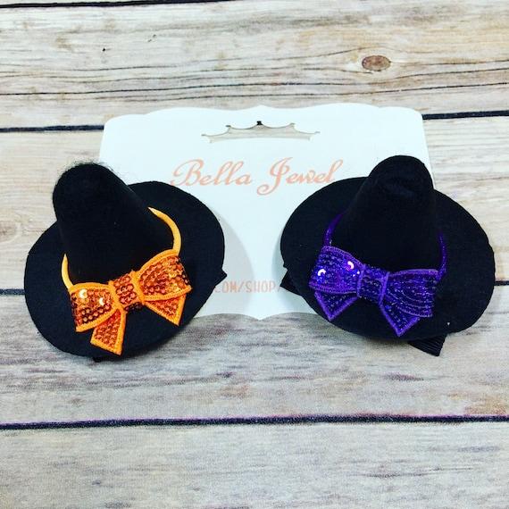 Witches Hair Bow Witches Hats Bow Cotton Bow Bow Headband Fall Baby Headband Nylon Bow Nylon Headband Baby Girl Headband