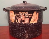 Graniteware Canner or Pot - Federal Cold Pack Canner and Utility Pot - Farmhouse Kitchen Decor - Navy with White Speckles Stock Pot