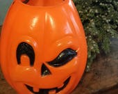 Blowmold Halloween Candy Bucket or Pail - Trick or Treat Candy Bucket - Winking Jack O Lantern - Halloween Home Decor - Gift Under 50