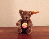 Steiff Miniature Original Teddy Bear - Brown Mohair - Mint Condition - Vintage Teddy Bear 0206/10