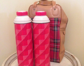 Thermos Picnic Set - Plaid Bag with 2 Thermos Containers - Vintage Camping Serving Set