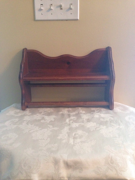 Wooden Double Towel Rack With Shelf Vintage Bathroom Or Etsy