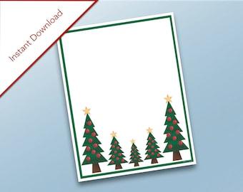 Christmas Trees/Christmas Tree Stationary/Holiday Decorations/Holidays Printable/Stationary/Christmas Tree Letter/Christmas Stationary/Decor