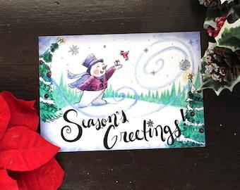 Snowman Art Postcard/Season's Greetings 5 x 7 inch Notecard/Christmas Cards/Christmas Prints/Christmas Art Print/Gifts/Christmas Gifts/Art