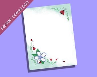 Ladybug Printable Stationary/Camp Letter Stationary/Cute Stationary/Stationary For Kids/Writing Paper/Spring Stationary/Printable Paper