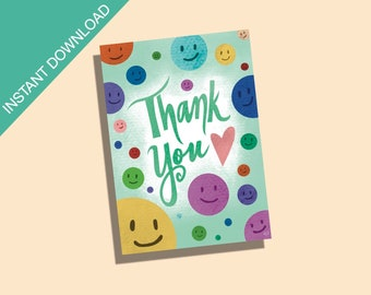 Printable Thank You Cards/Happy Face Thank You Card/Printable Stationary/Happy Face Stationary/Cute Stationary/Cute Printable Stationary