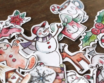 Christmas in July Tiny Stickers Pack/Christmas Planner Sticker Pack/Holiday Stickers/Christmas Stickers/Cute Stickers/Waterproof/Snowflakes