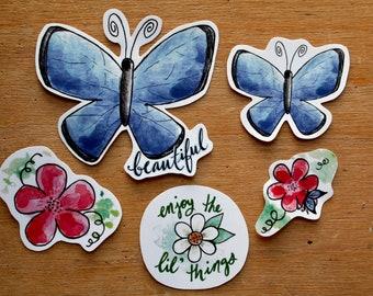 A Little Bit of Springtime Small Sticker Pack/Butterfly Sticker Pack/Spring Stickers/Springtime Stickers/Cute Stickers/Waterproof/Flowers