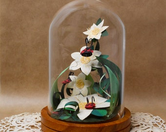 Ladybug Art/Original Art/Mini Paper Art Sculpture/Cute Ladybug Room Decor/Paper Art/Home Decor Art/Baby Shower Gift/Cute Gift for Friends